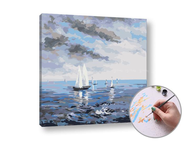 Maľovanie podľa čísel ROZBÚRENÉ MORE – nízka náročnosť 50x50 cm (Sada na maľovanie podľa čísel ARTMIE)