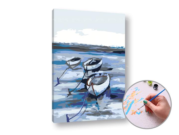 Maľovanie podľa čísel LOĎKY NA MORI – nízka náročnosť 60x40 cm (Sada na maľovanie podľa čísel ARTMIE)