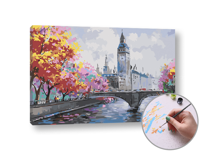 Maľovanie podľa čísel JESEŇ V LONDÝNE – stredná náročnosť 60x40 cm (Sada na maľovanie podľa čísel ARTMIE)