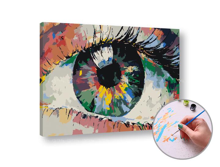 Maľovanie podľa čísel FAREBNÉ OKO – nízka náročnosť 60x40 cm (Sada na maľovanie podľa čísel ARTMIE)