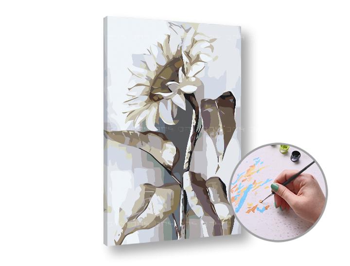 Maľovanie podľa čísel BIELA SLNEČNICA – nízka náročnosť 60x40 cm (Sada na maľovanie podľa čísel ARTMIE)