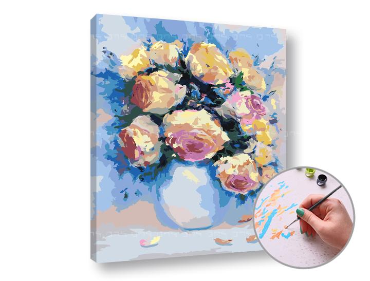 Maľovanie podľa čísel RUŽE VO VÁZE – nízka náročnosť (Sada na maľovanie podľa čísel ARTMIE)