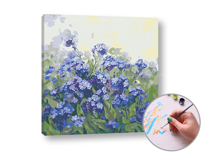 Maľovanie podľa čísel FIALOVÉ KVIETKY – vysoká náročnosť (Sada na maľovanie podľa čísel ARTMIE)