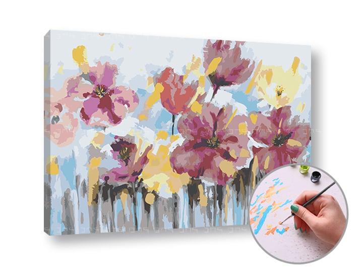 Maľovanie podľa čísel ABSTRAKT KVETY – nízka náročnosť (Sada na maľovanie podľa čísel ARTMIE)
