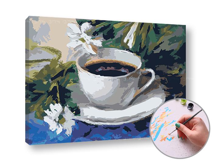 Maľovanie podľa čísel RANNÁ KÁVA – nízka náročnosť (Sada na maľovanie podľa čísel ARTMIE)