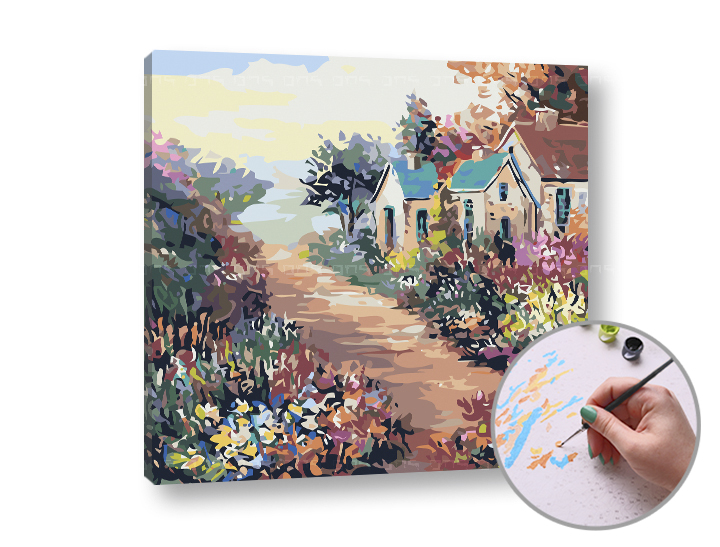 Maľovanie podľa čísel FAREBNÁ KRAJINA – vysoká náročnosť 50x50 cm (Sada na maľovanie podľa čísel ARTMIE)