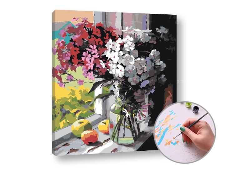 Maľovanie podľa čísel ZA OKNOM – stredná náročnosť (Sada na maľovanie podľa čísel ARTMIE)