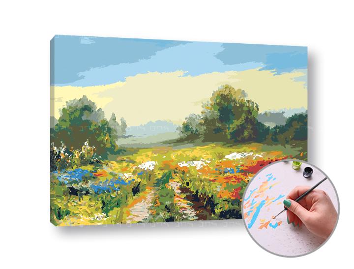 Maľovanie podľa čísel POĽNÁ CESTA – vysoká náročnosť (Sada na maľovanie podľa čísel ARTMIE)