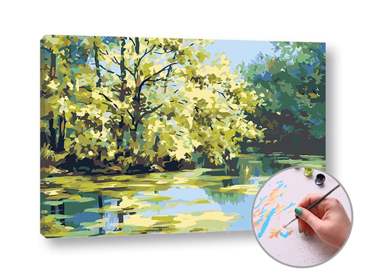 Maľovanie podľa čísel JAZERO – vysoká náročnosť (Sada na maľovanie podľa čísel ARTMIE)