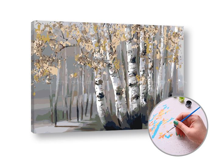 Maľovanie podľa čísel BREZOVÝ HÁJ – vysoká náročnosť 60x40 cm (Sada na maľovanie podľa čísel ARTMIE)