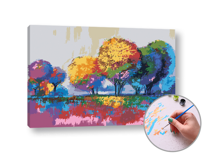 Maľovanie podľa čísel FAREBNÁ PRÍRODA – stredná náročnosť 60x40 cm (Sada na maľovanie podľa čísel ARTMIE)
