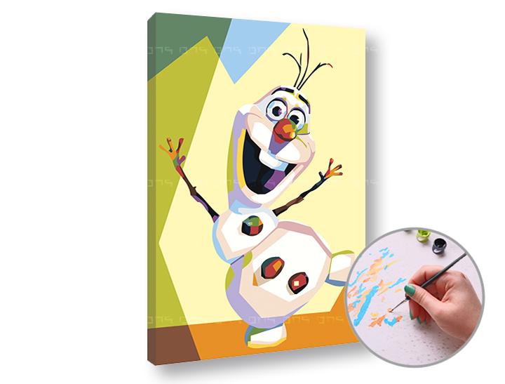 Maľovanie podľa čísel FROZEN OLAF – nízka náročnosť (Sada na maľovanie podľa čísel ARTMIE)