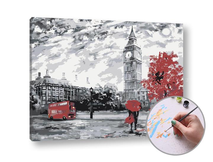Maľovanie podľa čísel LONDÝNSKE DOJMY – stredná náročnosť (Sada na maľovanie podľa čísel ARTMIE)