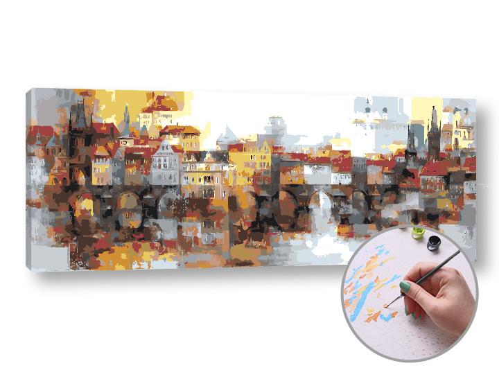 Maľovanie podľa čísel VÝCHOD SLNKA V MESTE – vysoká náročnosť 100x40 cm (Sada na maľovanie podľa čísel ARTMIE)