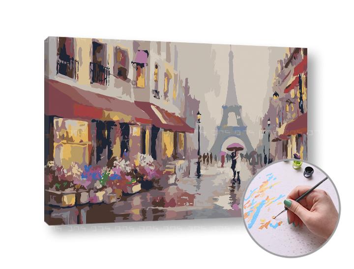 Maľovanie podľa čísel DÁŽĎ V PARÍŽI – nízka náročnosť 60x40 cm (Sada na maľovanie podľa čísel ARTMIE)