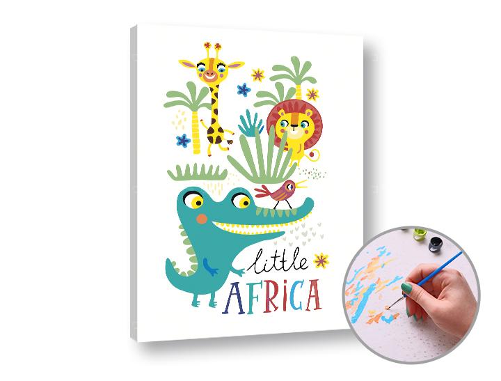 Maľovanie podľa čísel LITTLE AFRICA – nízka náročnosť 40x50 cm (Sada na maľovanie podľa čísel ARTMIE)