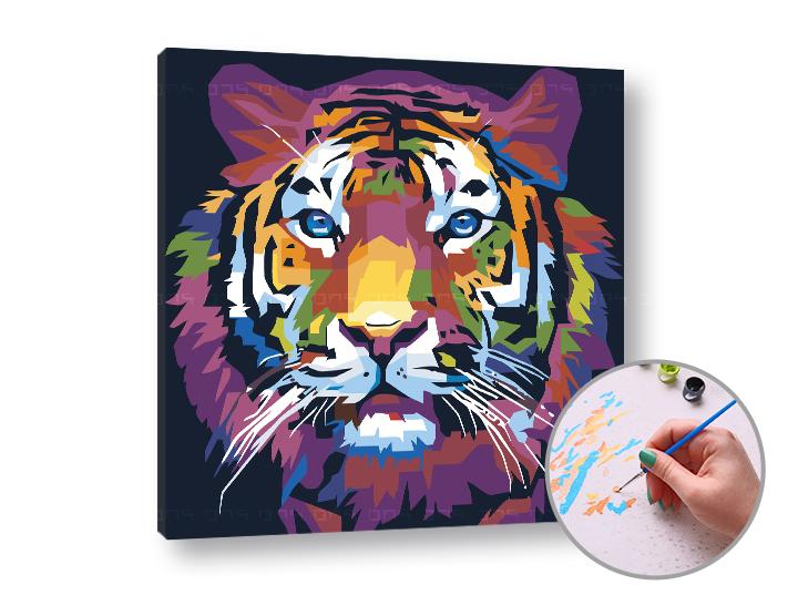 Maľovanie podľa čísel TIGER DŽUNGĽOVÝ – nízka náročnosť 50x50 cm (Sada na maľovanie podľa čísel ARTMIE)