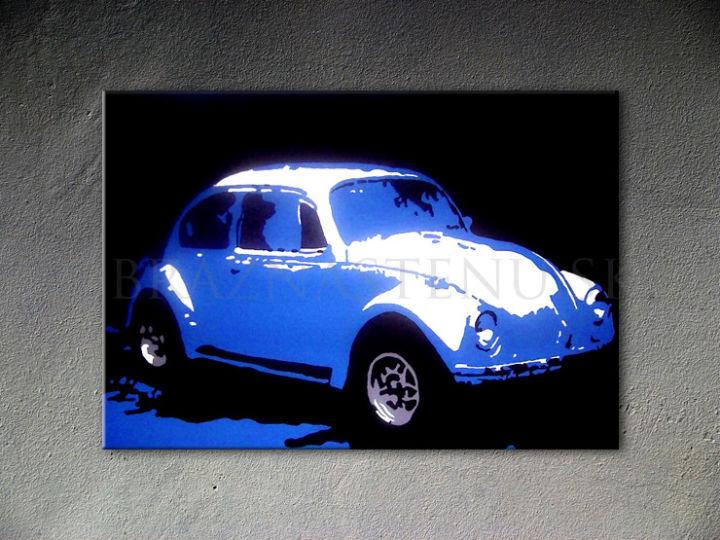Ručne maľovaný POP Art Volkswagen Beetle 1 dielny 70x100cm k - AHD26292