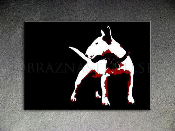 Ručne maľovaný POP Art Dog 1 dielny 100x70cm dog - AHD26083