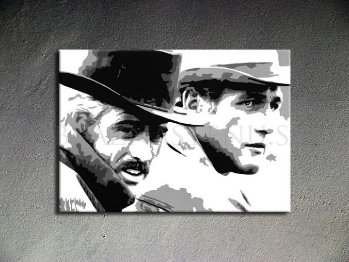 Ručne maľovaný POP Art Butch Cassidy 1 dielny 100x70cm bc - AHD26057