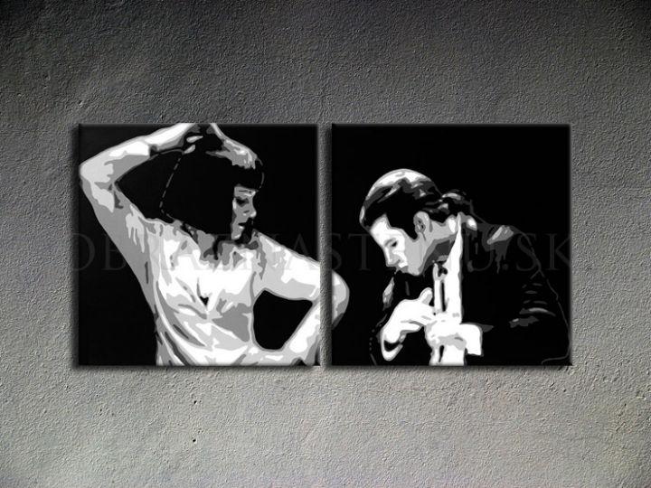 Ručne maľovaný POP Art Pulp Fiction 2 dielny 100x50cm pulp3 - AHD26237