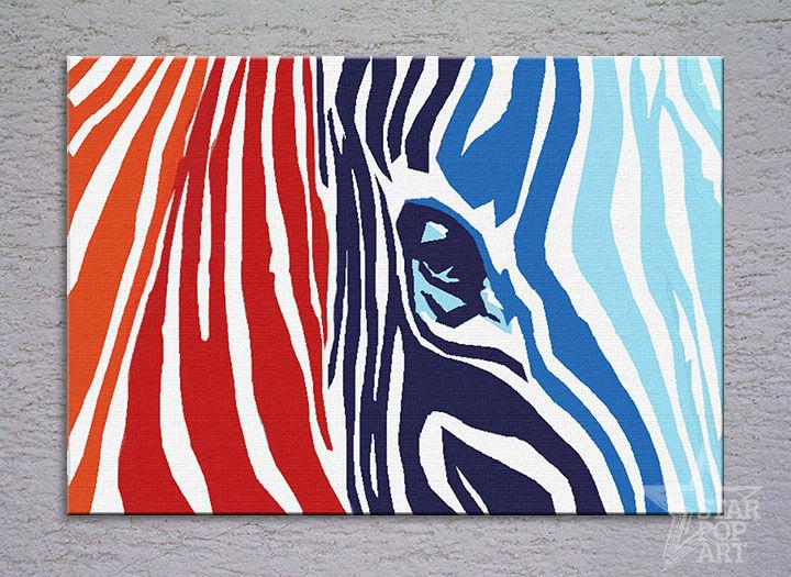 Ručne maľovaný POP Art COLOURS 1 dielny 100x70cm zebra - AHD26066