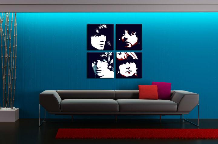 Ručne maľovaný POP Art obraz BEATLES 4 dielny beat (POP ART obrazy)