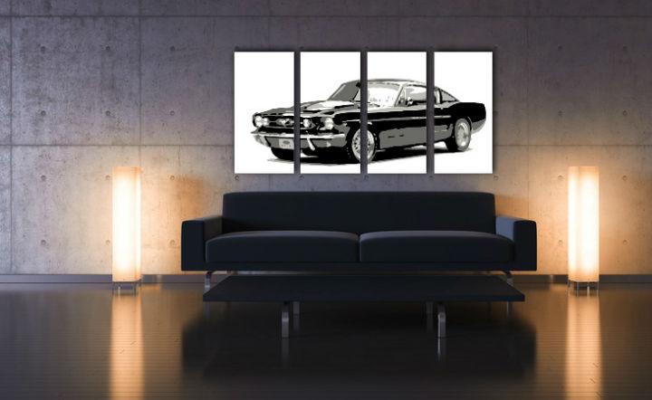 Ručne maľovaný POP Art obraz Ford Mustang 4 dielny fm (POP ART obrazy)