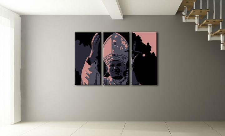 Ručne maľovaný POP Art obraz Ján Pavol II. 3 dielny pap (POP ART obrazy)