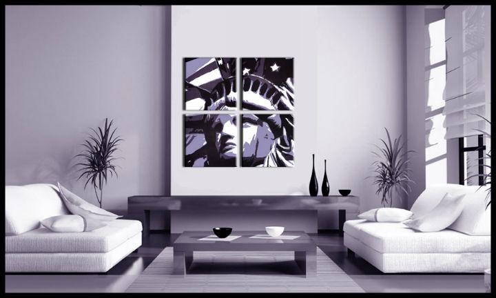 Ručne maľovaný POP Art obraz Socha Slobody 4 dielny fs (POP ART obrazy)