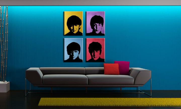 Ručne maľovaný POP Art obraz BEATLES 4 dielny bea6 (POP ART obrazy)