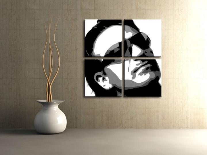 Ručne maľovaný POP Art obraz Bono-U2 4 dielny bono2 (POP ART obrazy)