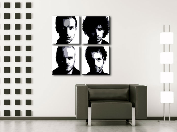 Ručne maľovaný POP Art obraz Coldplay 4 dielny cp (POP ART obrazy)