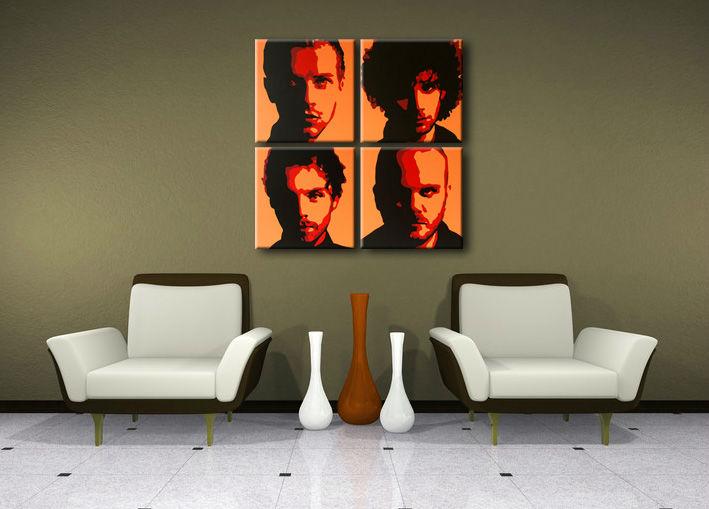 Ručne maľovaný POP Art obraz Coldplay 4 dielny cp2 (POP ART obrazy)