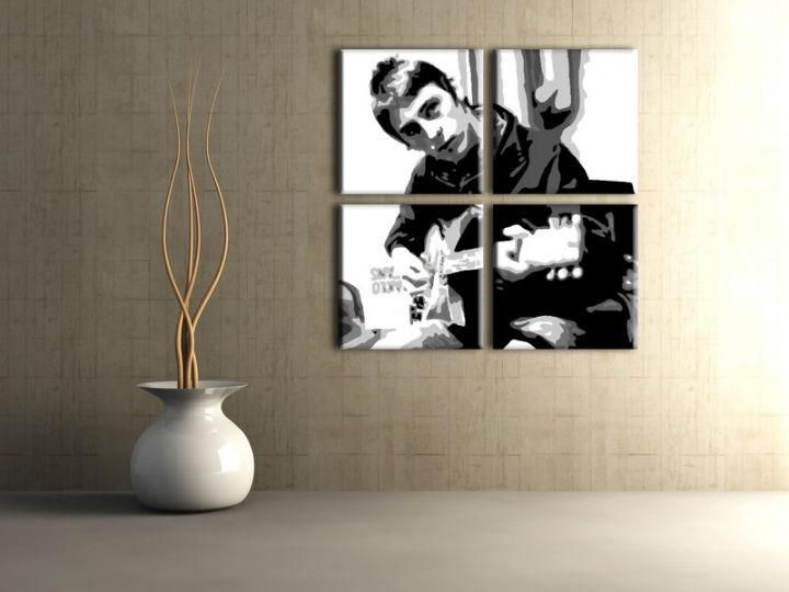 Ručne maľovaný POP Art obraz Paul Weller 4 dielny pwl (POP ART obrazy)
