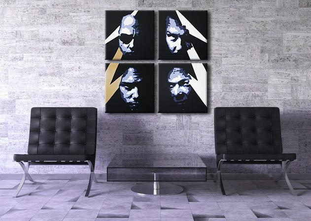 Ručne maľovaný POP Art obraz METALLICA 4 dielny met (POP ART obrazy)