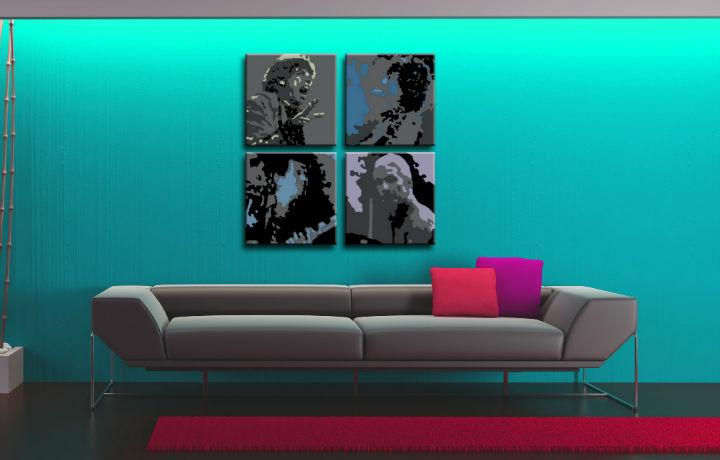 Ručne maľovaný POP Art obraz Rolling Stones 4 dielny rs (POP ART obrazy)