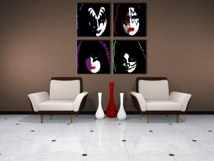 Ručne maľovaný POP Art obraz Kiss 4 dielny kiss (POP ART obrazy)