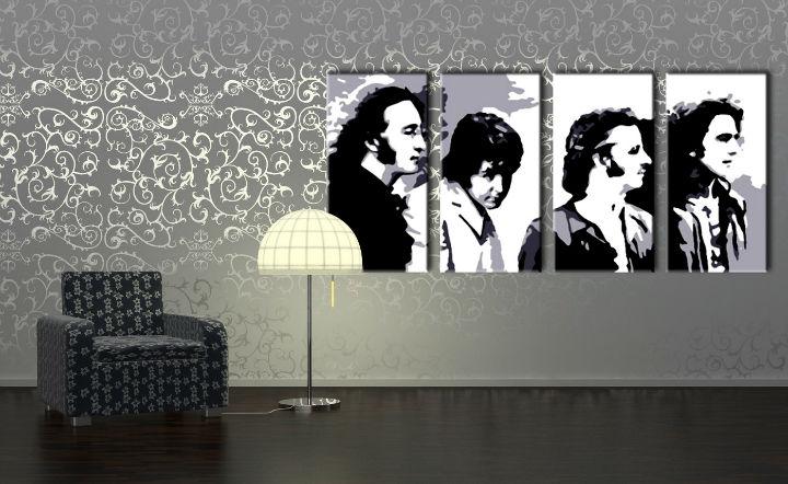 Ručne maľovaný POP Art obraz Beatles 4 dielny bea5 (POP ART obrazy)