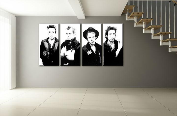 Ručne maľovaný POP Art obraz Clash 4 dielny cla (POP ART obrazy)