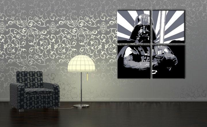 Ručne maľovaný POP Art obraz STAR WARS 4 dielny sw2 (POP ART obrazy)