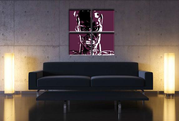 Ručne maľovaný POP Art obraz TERMINATOR 4 dielny ter (POP ART obrazy)