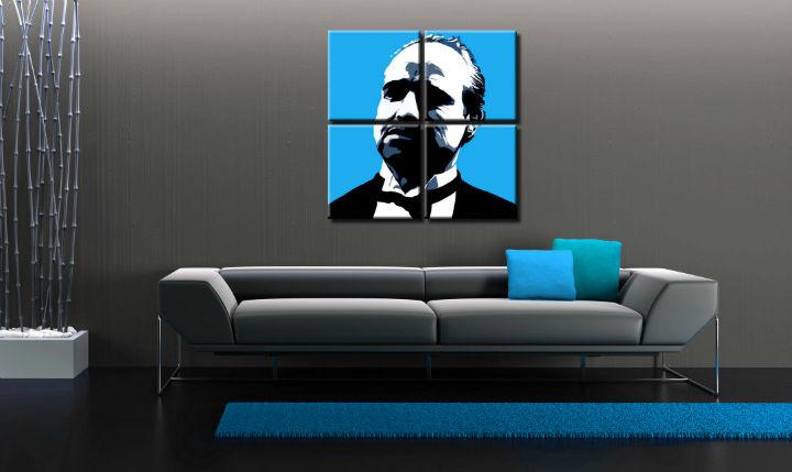 Ručne maľovaný POP Art obraz Marlon Brando 4 dielny mb4 (POP ART obrazy)