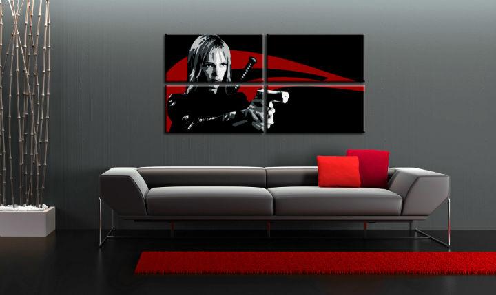 Ručne maľovaný POP Art obraz Kill Bill 4 dielny kb (POP ART obrazy)
