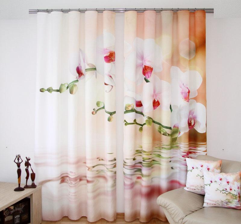 Komplet 2 luxusných závesov 3D orchidey ZR33 160x250 (2 kusy v balení)