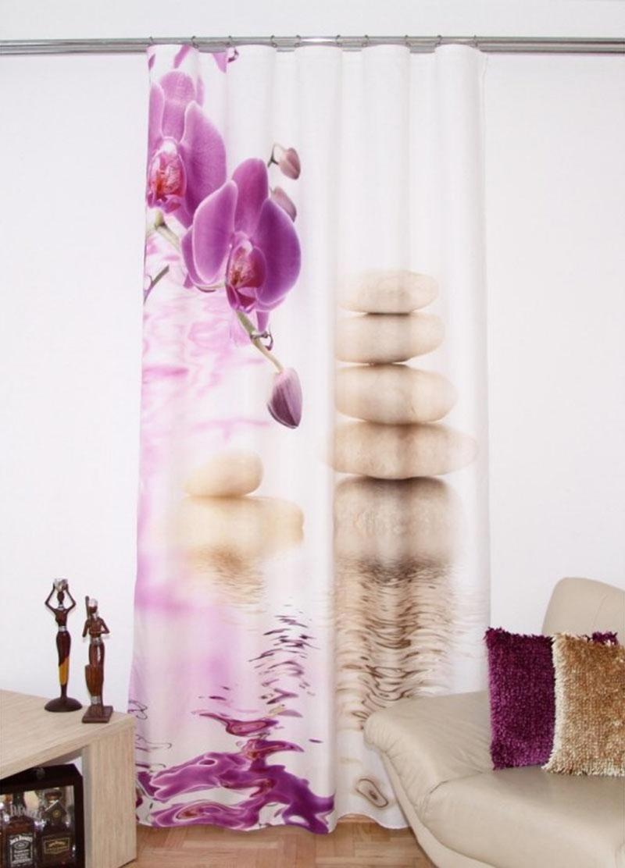 Komplet luxusných závesov 3D orchidey ZRB5 160x250 [2 ks] (2 kusy v balení)