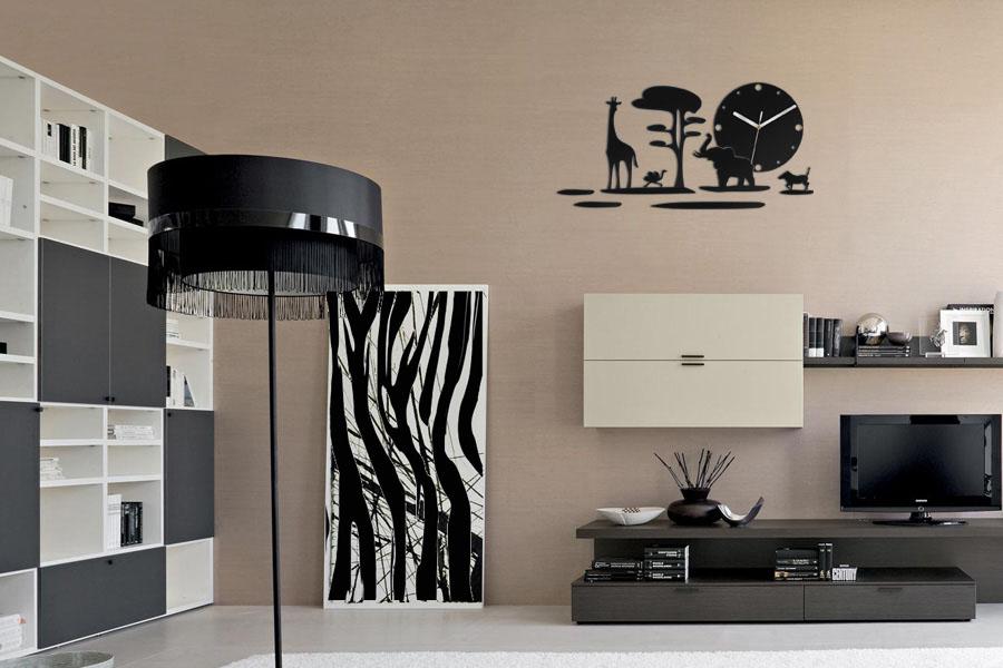 Moderné nástenné hodiny SAFARI NH019 (nalepovacie hodiny na stenu)