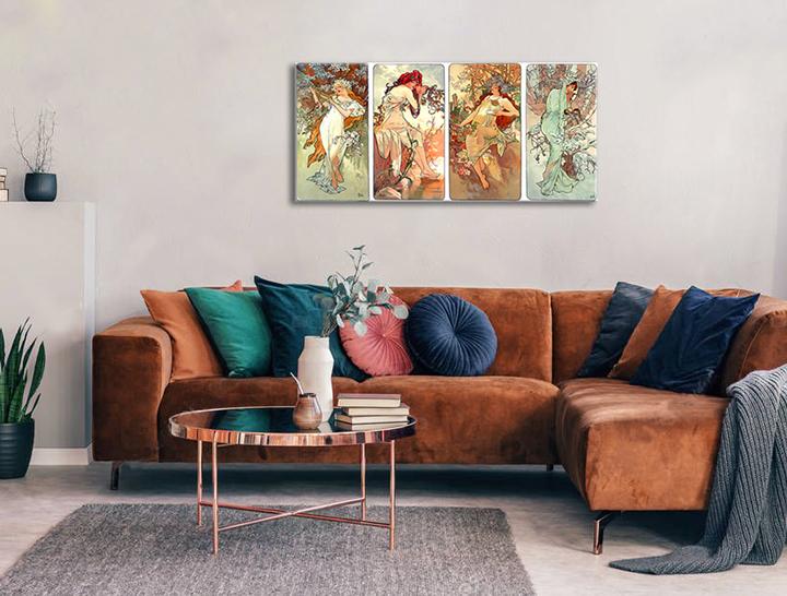 Obraz na plátne ŠTYRI ROČNÉ OBDOBIA – Alfons Mucha REP003 (reprodukcia 150x70 cm)