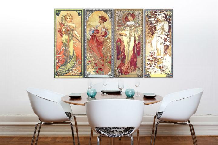 Obraz na plátne 4 dielny ŠTYRI ROČNÉ OBDOBIA 120x70 cm – Alfons Mucha 000 REP236 (4 dielna reprodukcia 120x70 cm (4x30x70cm))