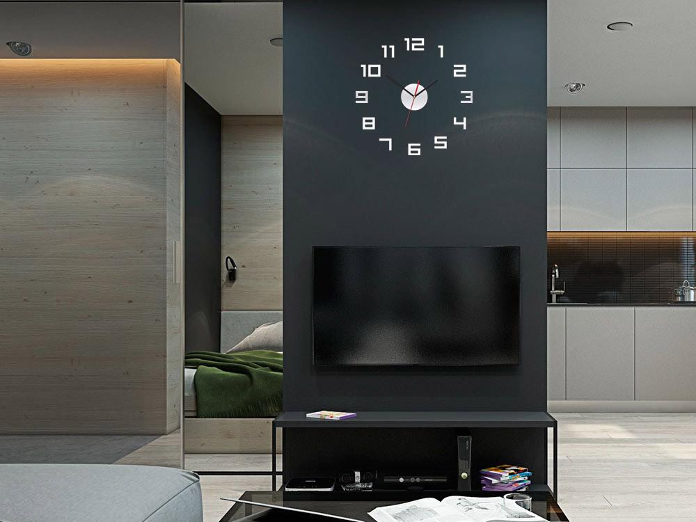 Moderné nástenné hodiny DIGI MIRROR NH046 (nalepovacie hodiny na stenu)